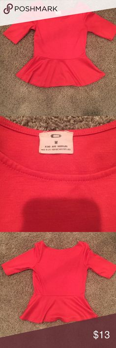 """Pins and Needles"" Urban Outfitters Peplum Top Pins & Needles Coral ""Ponte"" Peplum Top. Excellent Condition. Smoke free home. Elbow Sleeve. Very slight pilling under armpit, hard to notice just wanted to disclose all details I saw! •Armpit to armpit(BUST): 15.5 inches, roughly a 31 bust. Shoulder Seam to Shoulder Seam:14 inches. Sleeve (top of shoulder to cuff of sleeve): 12 inches..Length (top of shoulder to hemline): 21 inches. Armpit Seam to Hem of Sleeve: 7 inches. Peplum Waist Seam to…"