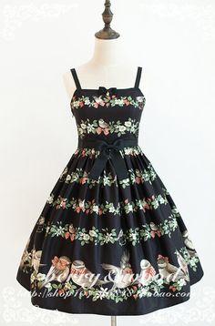 Berry & Wood -Titmouse and Multiflora Rose- Lolita Jumper Dress Kawaii Dress, Jumper Dress, Lolita Dress, Indie Brands, Gothic Lolita, Dream Dress, Asian Fashion, Beautiful Dresses, Berries
