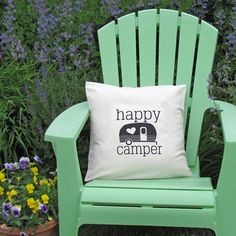 Happy Camper Pillow Cover 18x18