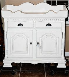 """Dimensions: 38.5"""" Wide . 38.5 Tall . 18.75 Deep Before  After  This is an antique dry sink that we have painted in our vintage white and lig..."""