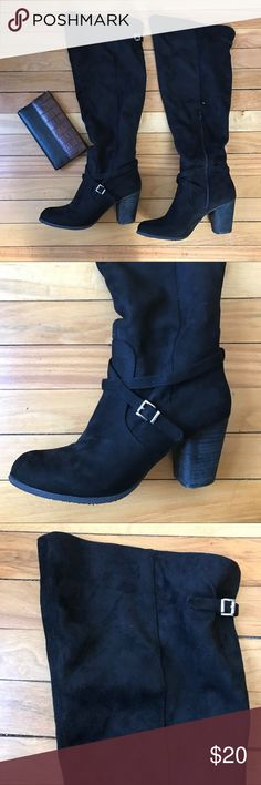 Madden girl wide calf knee high boots Really cute knee high boots by Madden Girl. Comfortable. Size 9W. Cute and dainty silver buckles on the side and back behind the knee. Cross straps in the front. madden gi Shoes Over the Knee Boots