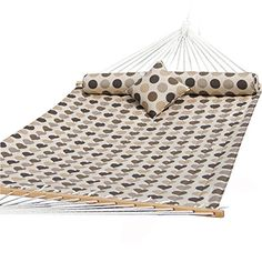Prime Garden Sunbrella Quilted Double Hammock Hardwood Spreader Bars Poly Fiber Stuffing Pillow Including A Chain Hanging Kit Accommodate 2 People 450 lbs Romantic Coffee Bean -- Click the VISIT button for detailed description