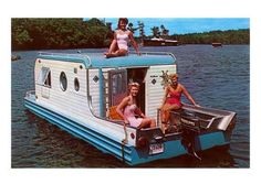 The Terra Marina Boat Camper. Manufactured for only one year with only 35 making final production. It was a completely self-contained camping trailer and house boat.Pontoons concealed behind access panels slid out for buoyancy, and the. Camper Boat, Diy Camper, Camper Life, Vintage Travel Trailers, Vintage Campers, Vintage Rv, Vintage Motorhome, Vintage Caravans, Vintage Photos