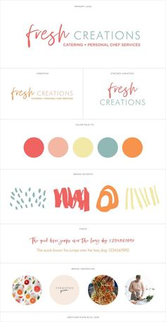 Brand Identity for Fresh Creations by Nicole Estrada who is a personal chef based in San Diego. Designed by branding specialist and freelance logo designer Gretchen Kamp who is based in San Diego, CA and Astoria, New York City. Web Design, Design Blog, Logo Design, Modern Design, Branding Kit, Kids Branding, Corporate Branding, Colorful Branding, Bakery Branding