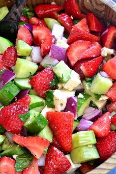 This Strawberry Cucumber Salad combines fresh strawberries and cucumbers with feta cheese and fresh mint, all tossed in a light lemony vinaigrette. An explosion of flavor (and crunch) in every bite!