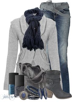 """""""Grays and Blues"""" by jackie22 on Polyvore"""