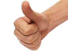 een duim omhoog omdat ik ga slagen!