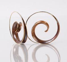 Bronze Spiral Earrings & Bronze Tendril Embrace Pendant: Nancy Linkin: Gold & Bronze Jewelry