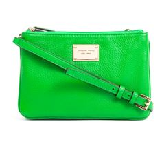 Length: 24 cm  Width: 12 cm Height: 16 cm Shoulder drop: 46 cm Description: - Color: palm (green) - Material: genuine leather  - Michael Kors gold plate in front - Three zip compartments - Triple zip closure - Interior monogram lining - Interior zip pocket - Card slots inside Perfect bag for every day. Very packable!