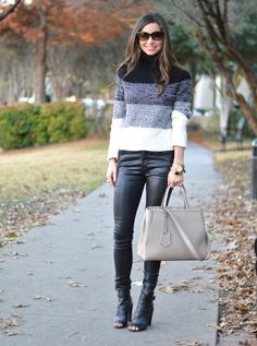 Trina Turk turtleneck Citizens of Humanity coated denim  Vince booties Bishop and Holland