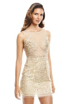 Sequin Illusion Neck Cocktail Dress