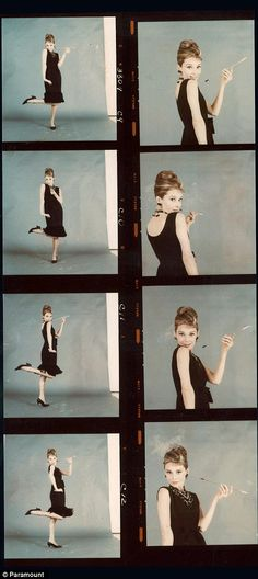 Audrey poses playfully with her cigarette holder, wearing a drop hem LBD