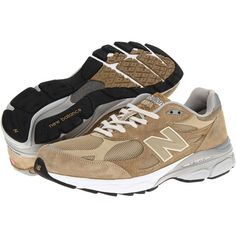 New Balance M990v3 (Beige) Men's Running Shoes (1 280 SEK) ❤ liked on Polyvore featuring men's fashion, men's shoes, men's athletic shoes, mens running shoes, new balance mens shoes, mens lightweight running shoes and mens low top shoes