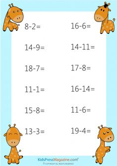 Printable subtraction drills are perfect for any teacher in need of extra, quality resources! All of the content in our worksheets is Math Practice Worksheets, Kindergarten Math Worksheets, Preschool Activities, Math For Kids, Fun Math, Math Charts, Math Books, Math Practices, Grade 1