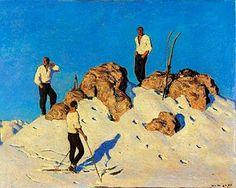 "Alfons Walde (Austrian, ""Gipfelrast am Pengelstein"" 1928 Figure Painting, Painting & Drawing, Bauhaus Art, Mountain Pictures, Kunst Online, Ski Posters, Sculpture Painting, Vintage Ski, Museum"