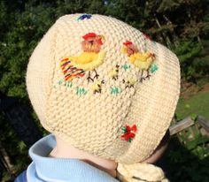 embroidered knitted bonnet