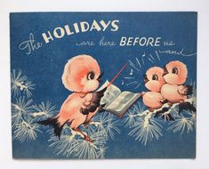 Rare Vintage Christmas Card Pink Bird Choir Snow Music Note Sing Black Wing Blue