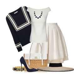 Style with Skirt - Classic navy and white