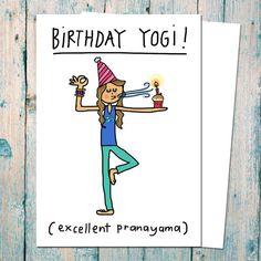 Funny Birthday card for yogis pranayama cartoon by indieBerries