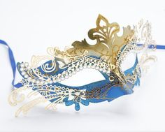 Metal Lasercut Venetian Mask with Crystals on Eyes Gold  Blue >>> Find out more about the great product at the image link.