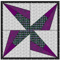 Free Quilt Block Pattern - Block of the Month #11  Pinwheel series - Wedge Pinwheel  Block - Easy paper pieced free quilt block