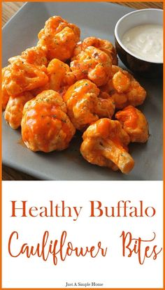 Healthy Buffalo Cauliflower Bites! If you are trying to eat healthy, follow clean eating, or lose weight but still want all the flavor and crunch of amazing food, try these out! Husband approved recipe too! 21 Day Fix approved