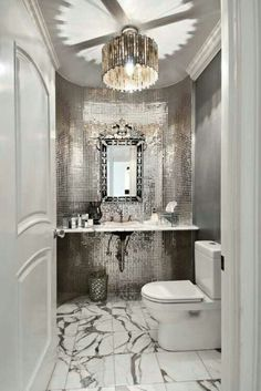 glam kitchen bath tile metallic