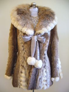Vintage LYNX and CHINCHILLA Fur Stroller Coat  #vintage #fur
