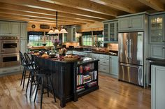 Momentous Rustic Backsplash Log Home Kitchens With Classic Black Wood Kitchen Island Also Natural Wood Kitchen Floor from Kitchen Design - Ideas and Picture Cabin Homes, Home Kitchens, Rustic Kitchen, Kitchen Design, Log Home Kitchens, Cabin Kitchens, Kitchen, Log Cabin Kitchens, Trendy Kitchen