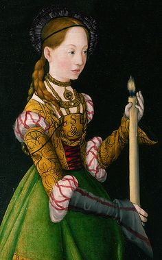 'Saints Genevieve and Apollonia', 1506 (detail) - by Lucas Cranach the Elder | this painting is part of the group: The St Catherine Altarpiece: Reverses of Shutters.