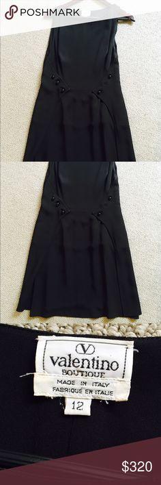 VALENTINO VINTAGE boutique Black Dress Vintage designer black dress, Made Italy, Size 12 (M or L), Gently used, good condition, missing one bottom. Valentino Dresses Midi