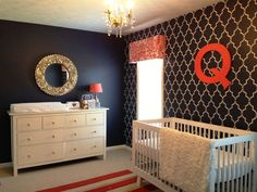 Quincy's Navy, Coral and White Nursery