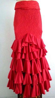 Flamenco Skirt Falda de Flamenco size Small  Red lace and lycra