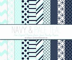 Just Peachy Designs: Free Navy and Pale Teal Digital Paper Set