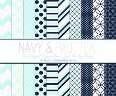 Just Peachy Designs: Free Navy and Pale Teal Digital Paper Set