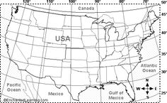 USA Latitude and Longitude Activity Printout #2 - EnchantedLearning.com