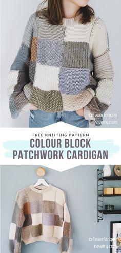 Free Chunky Knitting Patterns, Poncho Knitting Patterns, Crochet Cardigan Pattern, Pull, Sweaters, Colour Block, Crocheting, Knitting Blocking, Chunky Knits