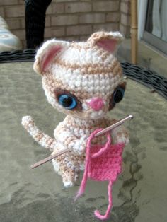 crochet kitten - part of a christmas giveaway