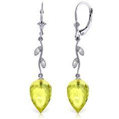 14K Solid White Gold Diamond Drop Lemon Quartz Earrings - 4726-W