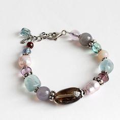 Multi Gemstone Beaded Bracelet, Quartz, Agate, Fluorite, Garnet, Pearl, Sterling Silver, Gemstone bracelet, Handmade bracelet