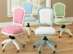 Home Office •~• blue, green, pink, & white desk chairs