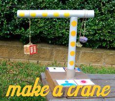 Make a rotating crane from cardboard rolls