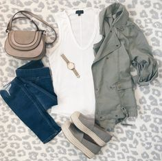 Spring outfit ideas - utility jacket and jeggings with espadrilles shoes.