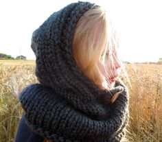 Hand-Knit Hooded Cowl with Button Hooded by Wheatfield Knitwear