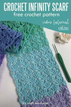 Crochet Lacy Scarf, Crochet Infinity Scarf Free Pattern, Easy Crochet Stitches, Crochet Basics, Crochet Scarves, Crochet Infinity Scarves, Easy Crochet Scarf Patterns, Crochet Scarf Tutorial, Infinity Scarf Tutorial
