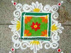 Square patterned Rangoli Rangoli Colours, Rangoli Patterns, Rangoli Ideas, Rangoli Designs Diwali, Diwali Rangoli, Kolam Designs, Flower Rangoli, Flower Mandala, Diwali Decorations