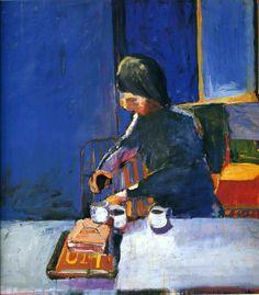 Richard Diebenkorn ..girl and three coffee cups
