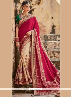 Royal Art Silk Beige And Maroon Patch Border Work Designer Half N Half Saree Model: YOSAR9095