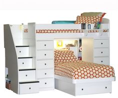 Berg Space Saver 22-827-XX Twin over twin Loft Bunk Bed with two chests and platform bed 22-827-94
