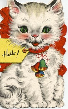 56 Ideas vintage tattoo cat greeting card for 2019 Cat Christmas Cards, Christmas Animals, Vintage Christmas Cards, Retro Christmas, Hallmark Christmas, Christmas Time, Kitten Drawing, Cat Valentine, Vintage Valentines